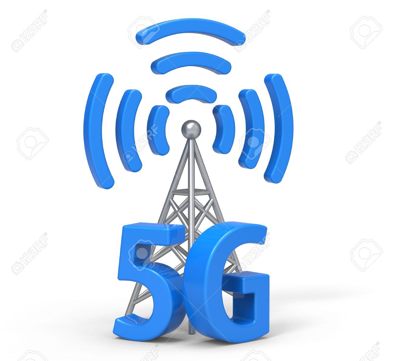 3d 5G With Antenna, Wireless Communication Technology Stock Photo ...
