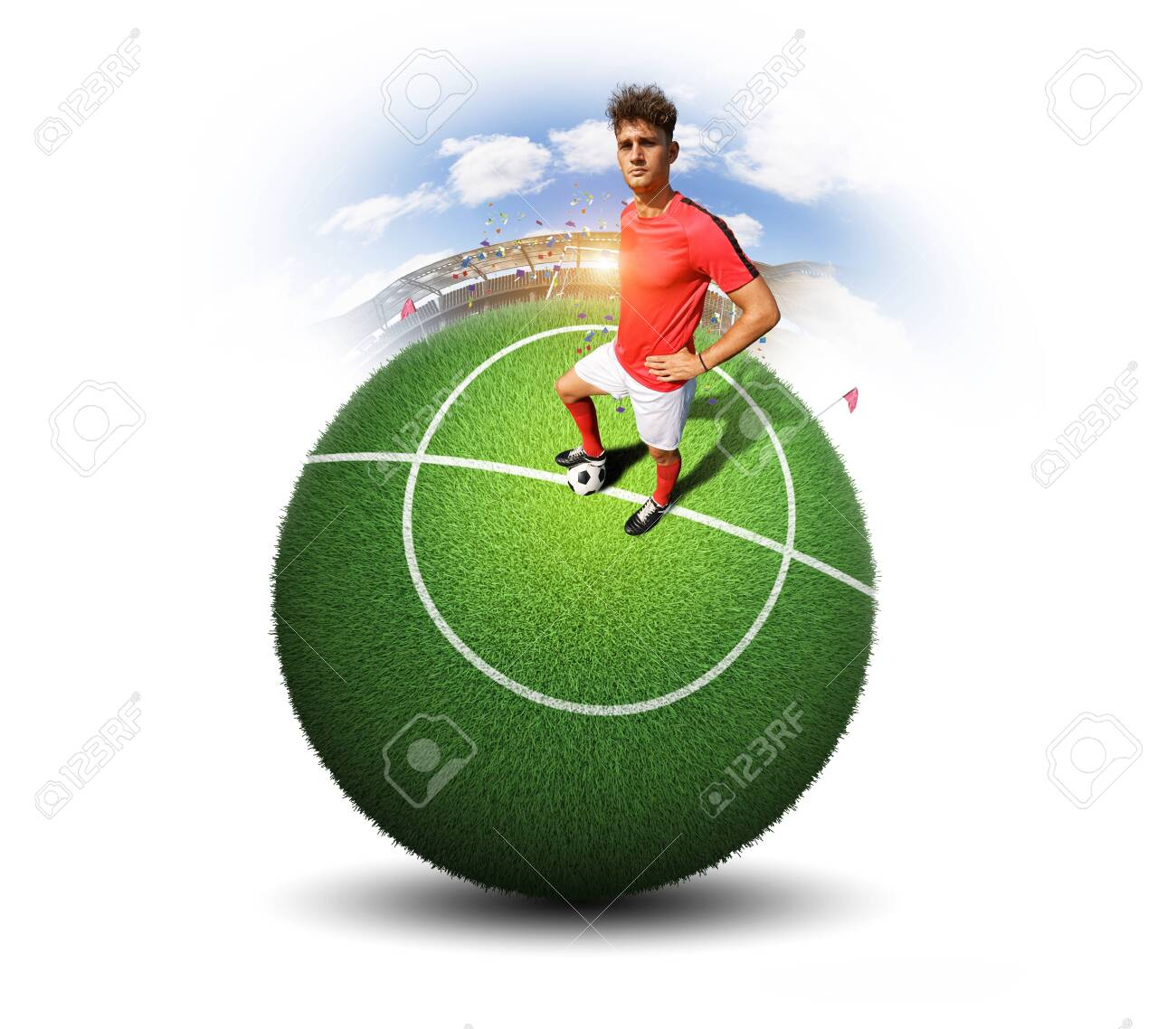 Football player and ball in the stadium - 149493097