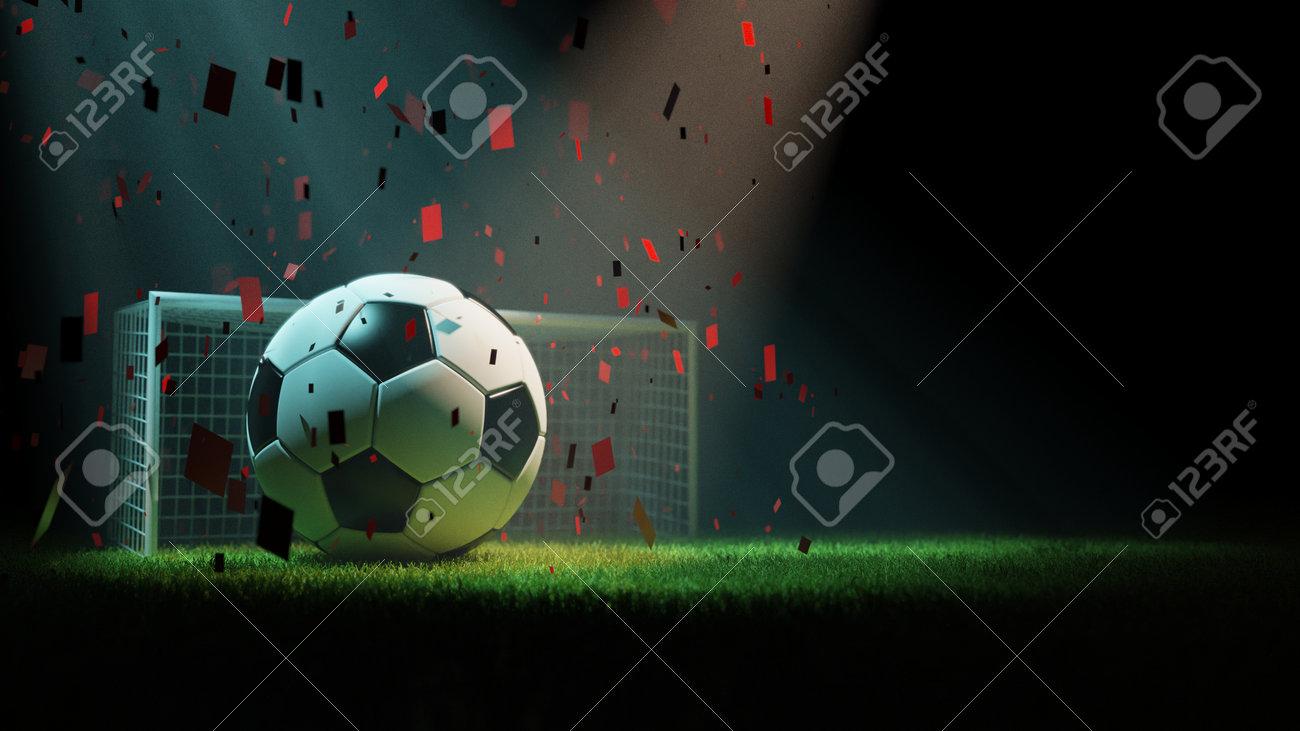 Soccer ball, goal post and grass, 3d rendering - 165822825