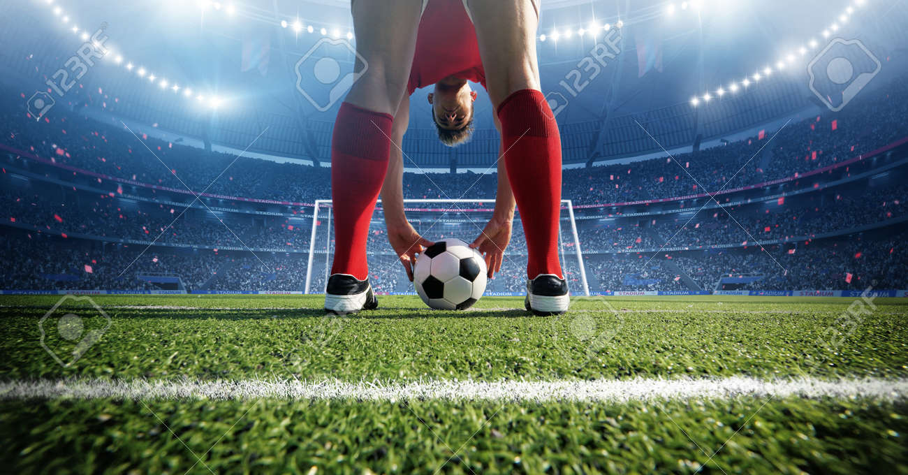 Football player in the stadium. An imaginary stadium is modeled and rendered - 165823013