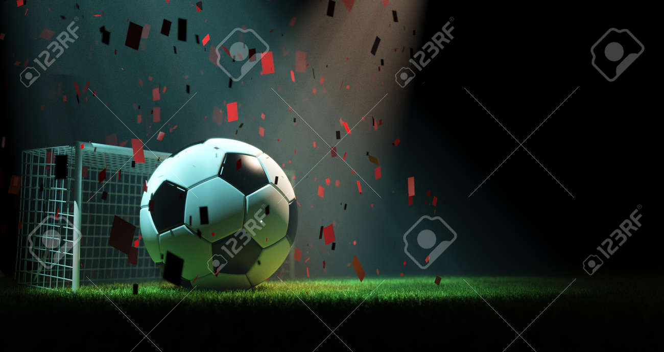 Soccer ball, goal post and grass, 3d rendering - 166067920