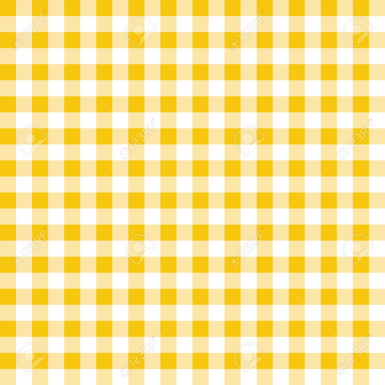 Yellow and white plaid vector background. Seamless repeat checkered pattern. - 121008874