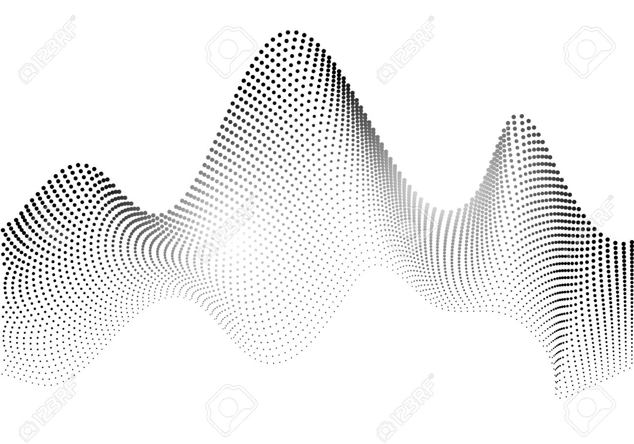 Particle waves. Abstract background created by a collection of points. Vector illustration. - 125836494