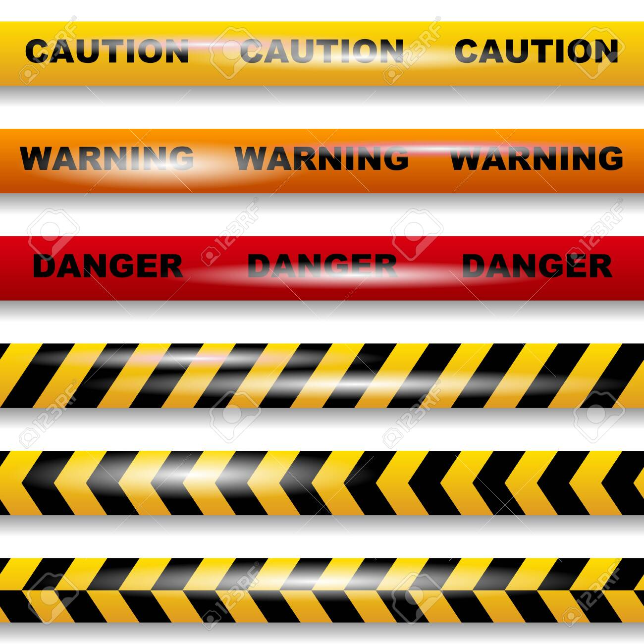 Set of seamless caution tapes on white background vector image - 143761524