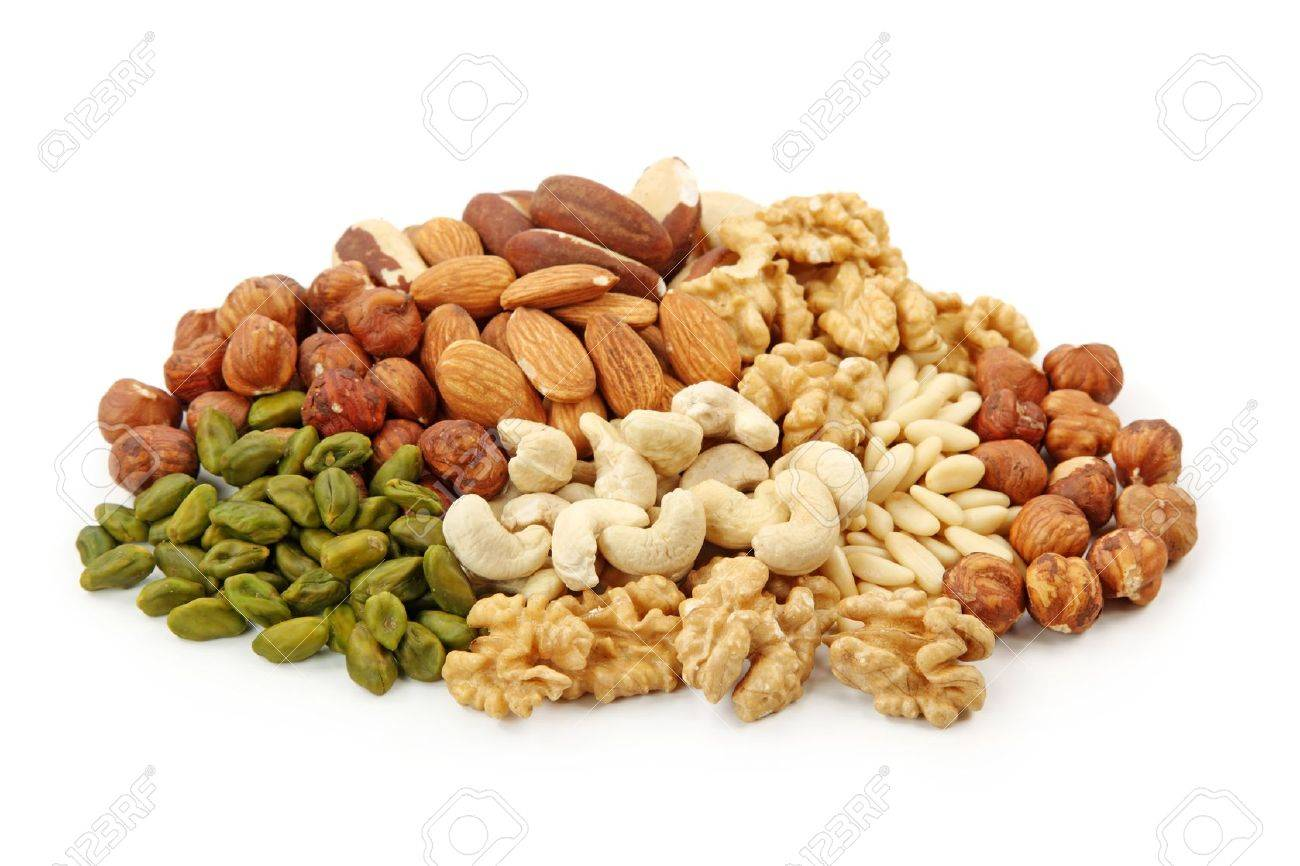 Group of nuts isolated on white background Stock Photo - 8918887
