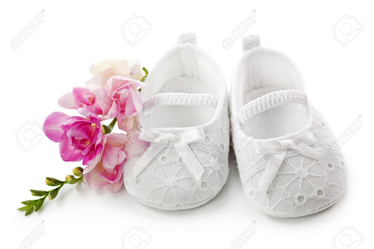 Baby girl shoes with pink flowers isolated on white background baby girl shoes with pink flowers isolated on white background stock photo 9326175 mightylinksfo