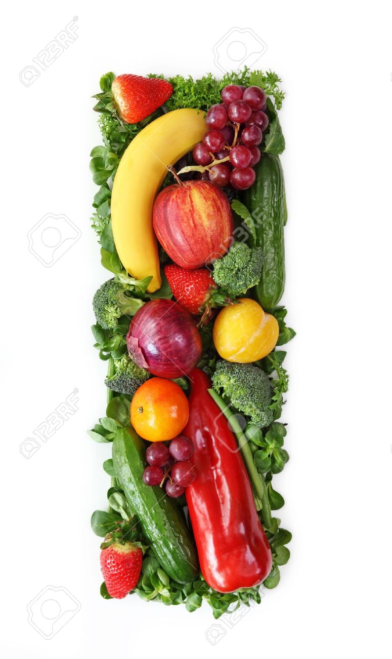 Fruit And Ve able Alphabet Letter I Stock Picture And