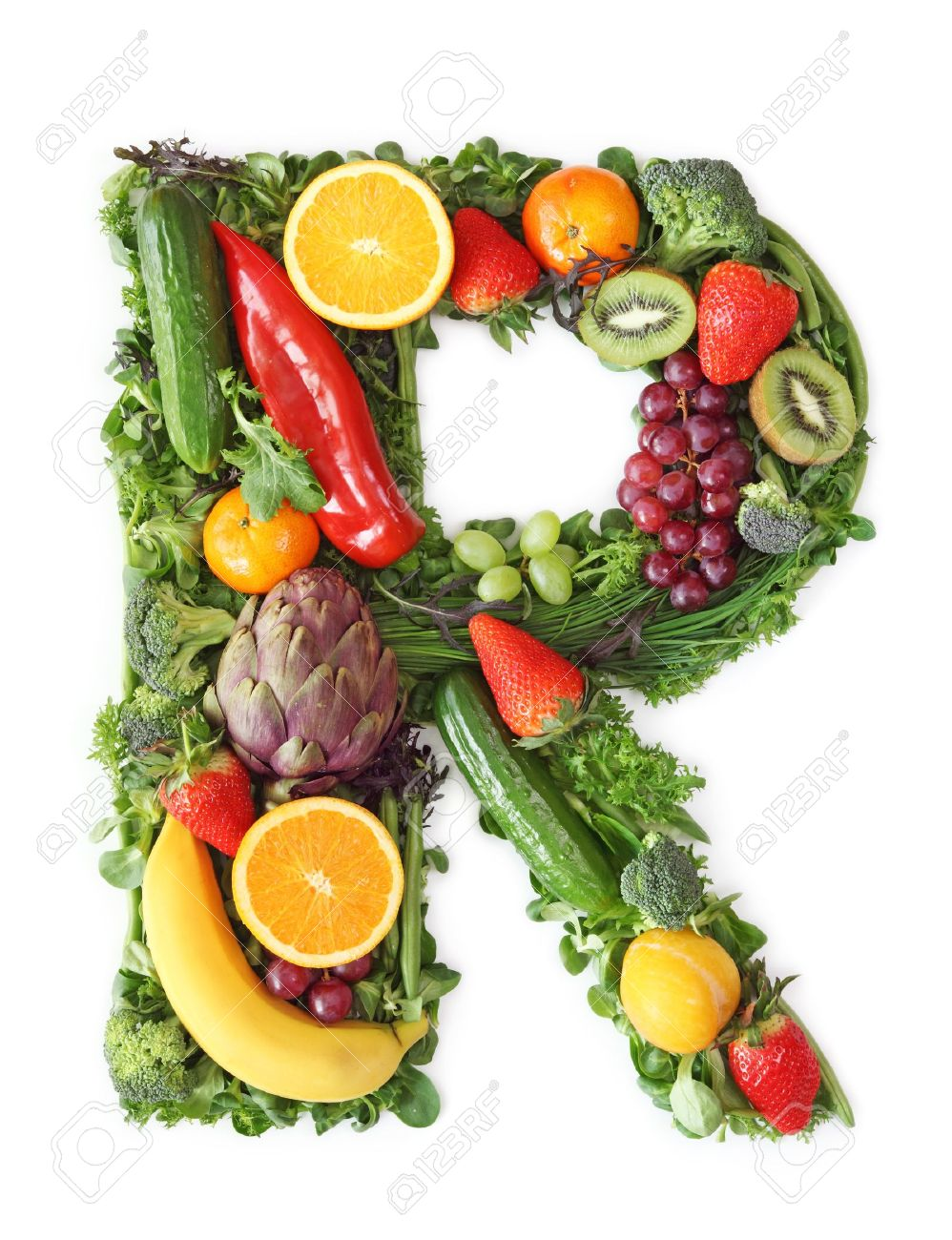 fruit and vegetable alphabet letter r stock photo picture and