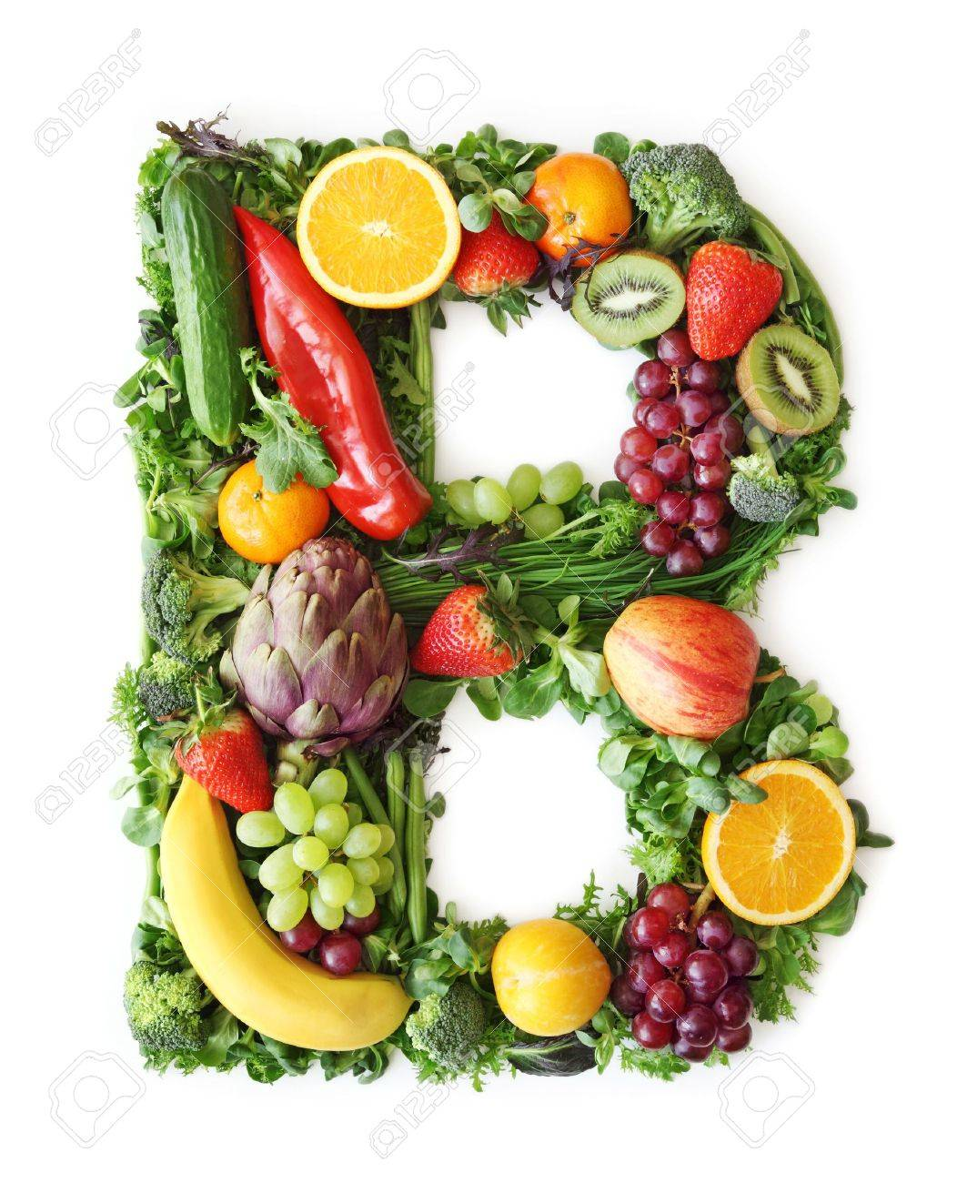 Fruit And Vegetable Alphabet   Letter B Stock Photo, Picture And