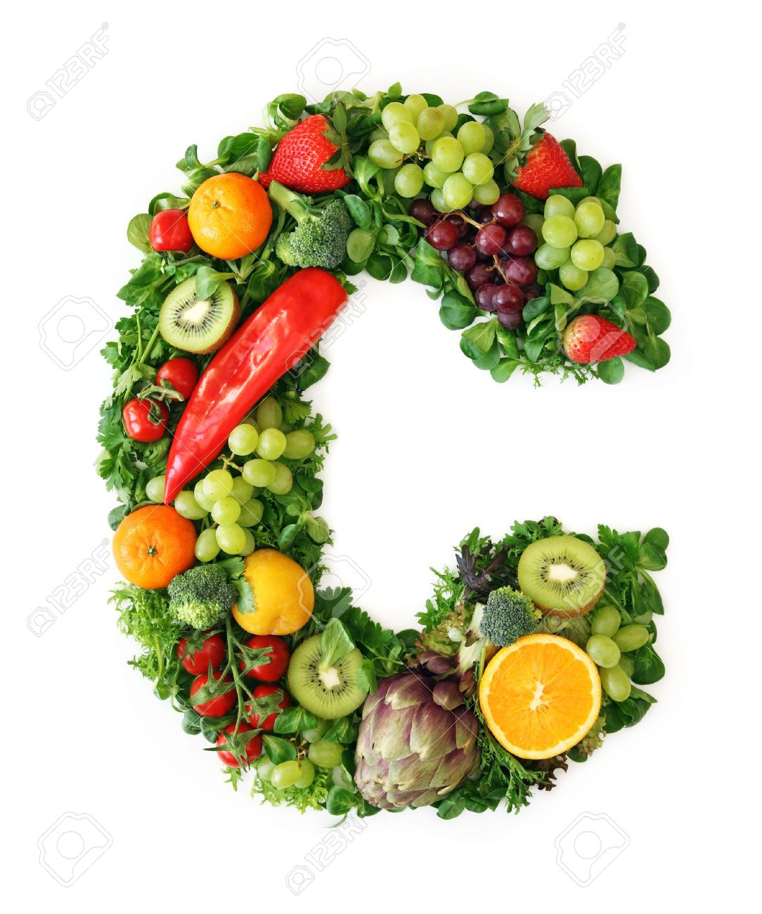 Fruit And Vegetable Alphabet - Letter C Stock Photo, Picture And ...