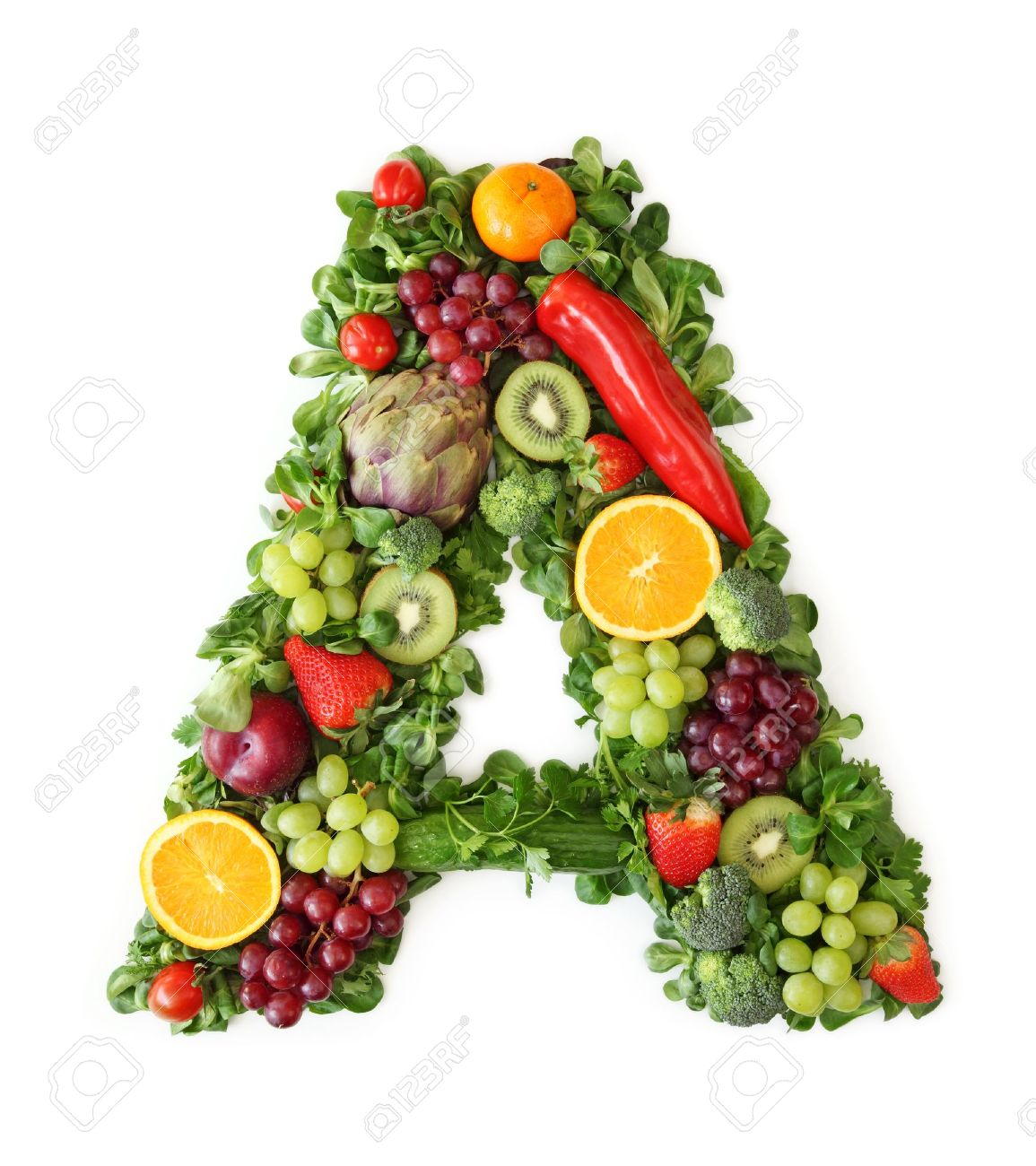 Fruit and vegetable alphabet - letter A Stock Photo - 9402372