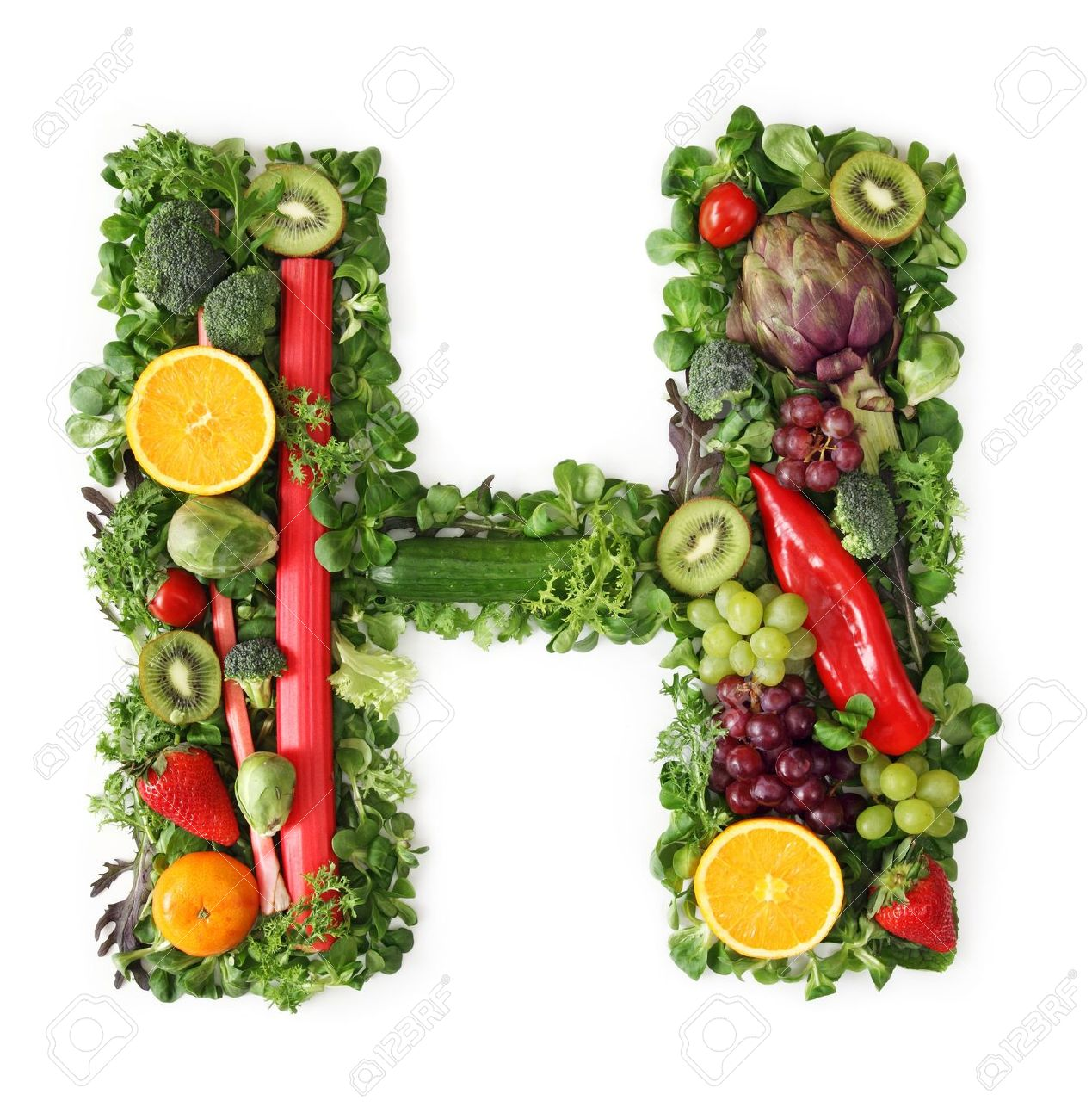 Fruit And Ve able Alphabet Letter H Stock Picture And