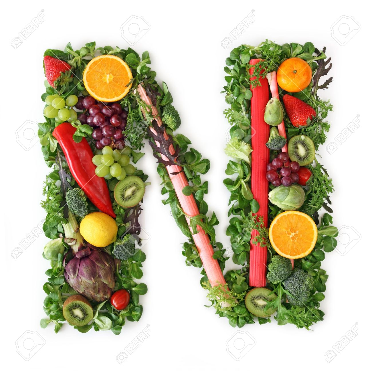 Fruit and vegetable alphabet - letter N Stock Photo - 9402360