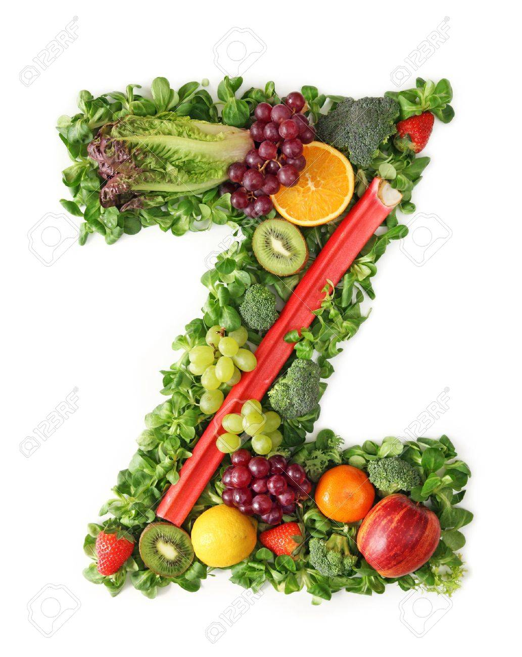 fruit and vegetable alphabet letter z stock photo picture and