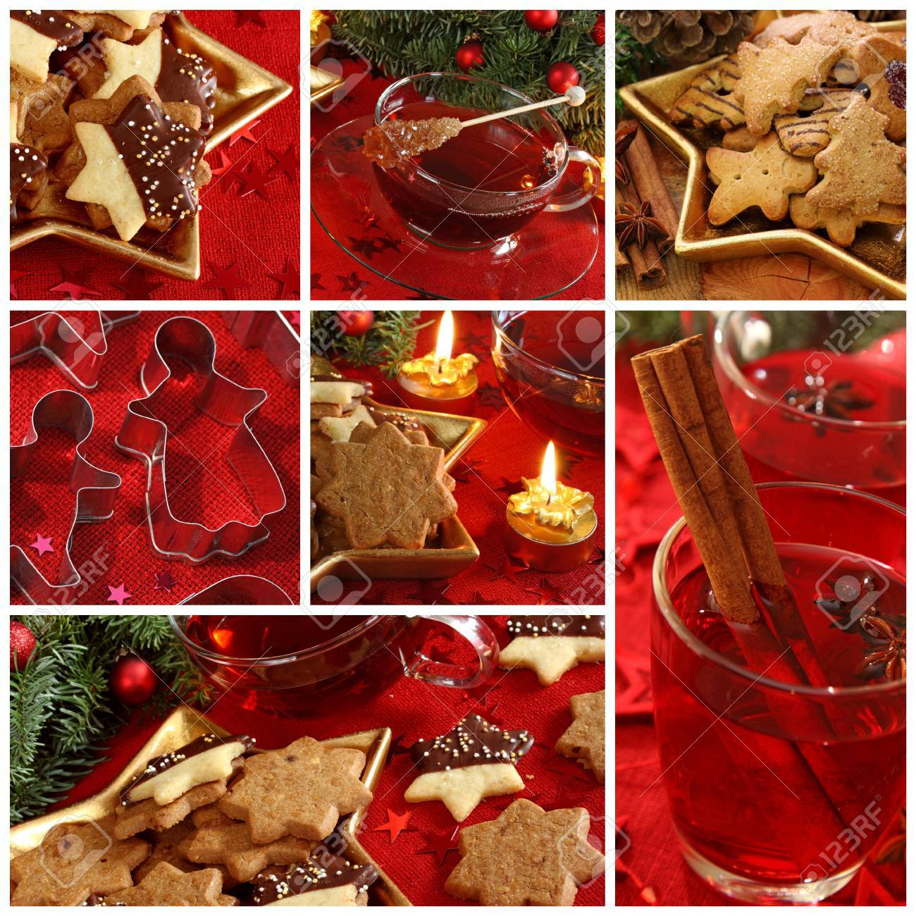 Christmas cakes and drink collage Standard-Bild - 9443506