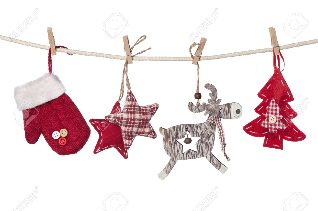 christmas decorations hanging isolated on white background stock photo 16460809