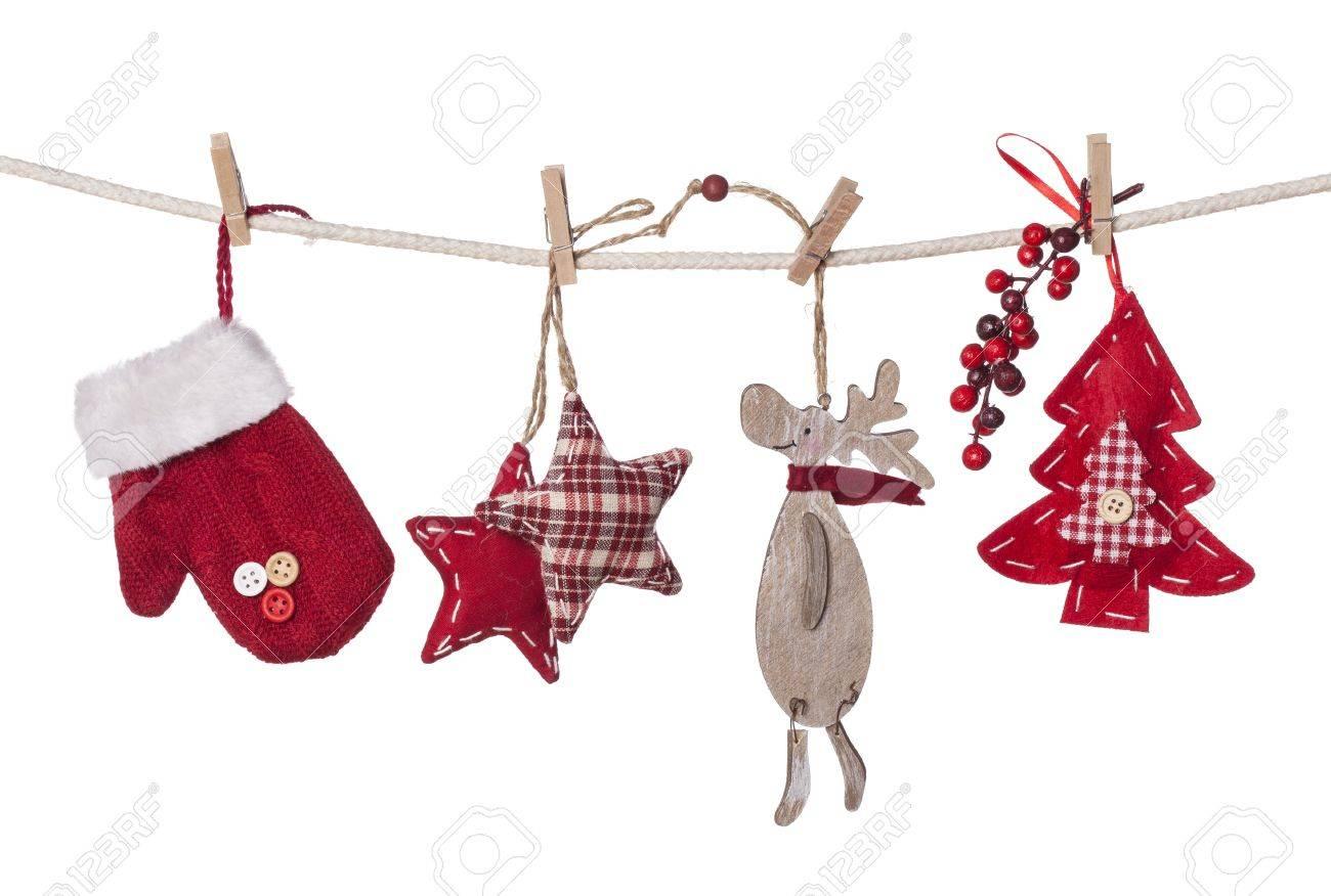 christmas decorations hanging isolated on white background stock photo 16460808