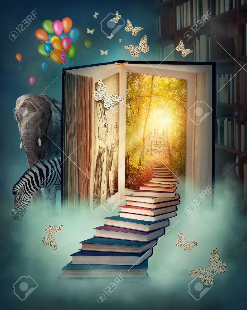 Upstairs to the magic book land Stock Photo - 17683057