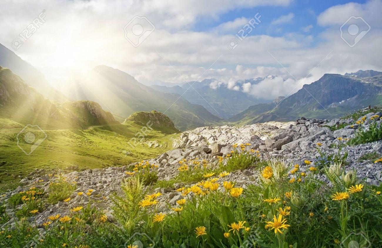 Mountains landscape in Vorarlberg, Austria Stock Photo - 21643450