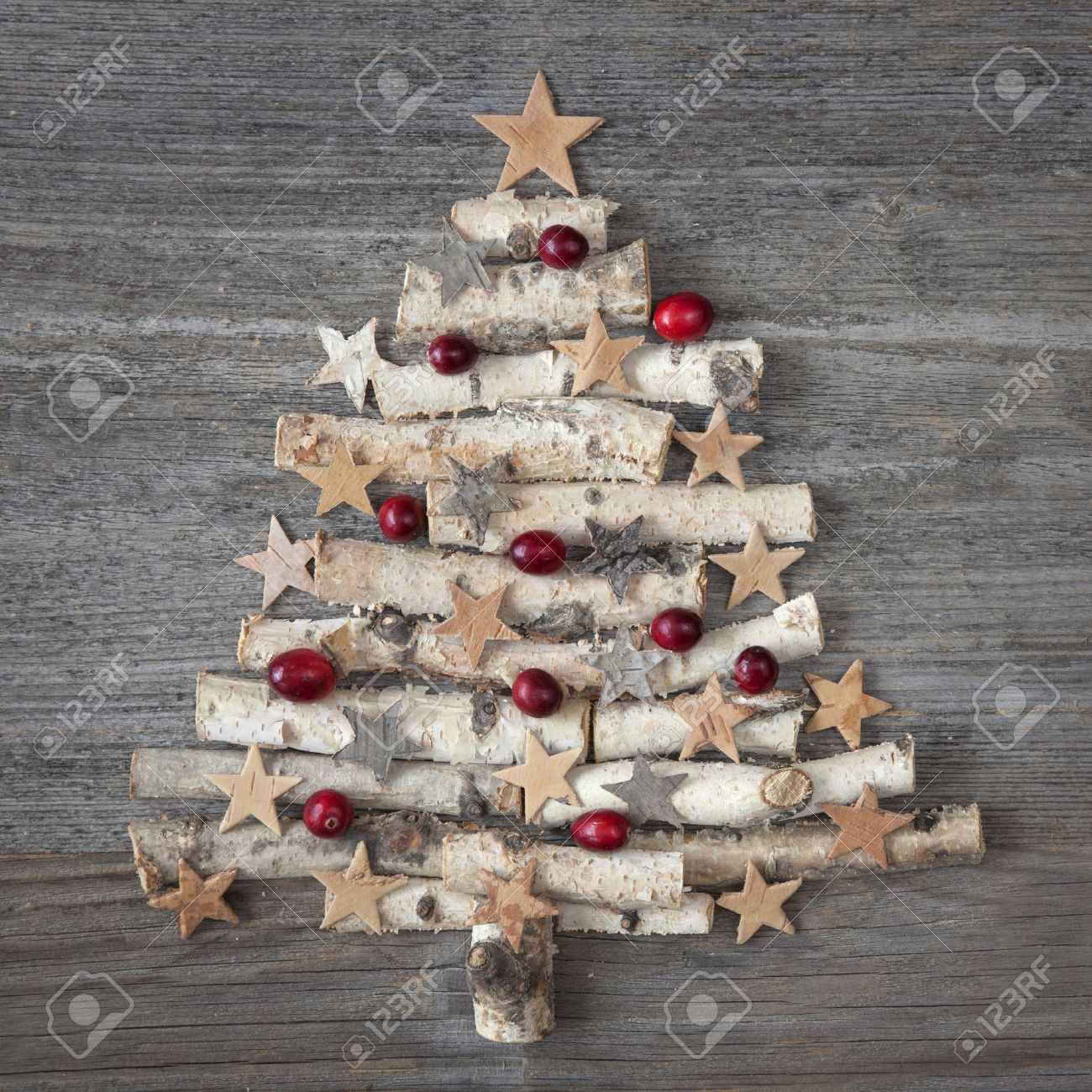 Christmas tree on wooden background Stock Photo - 23195061