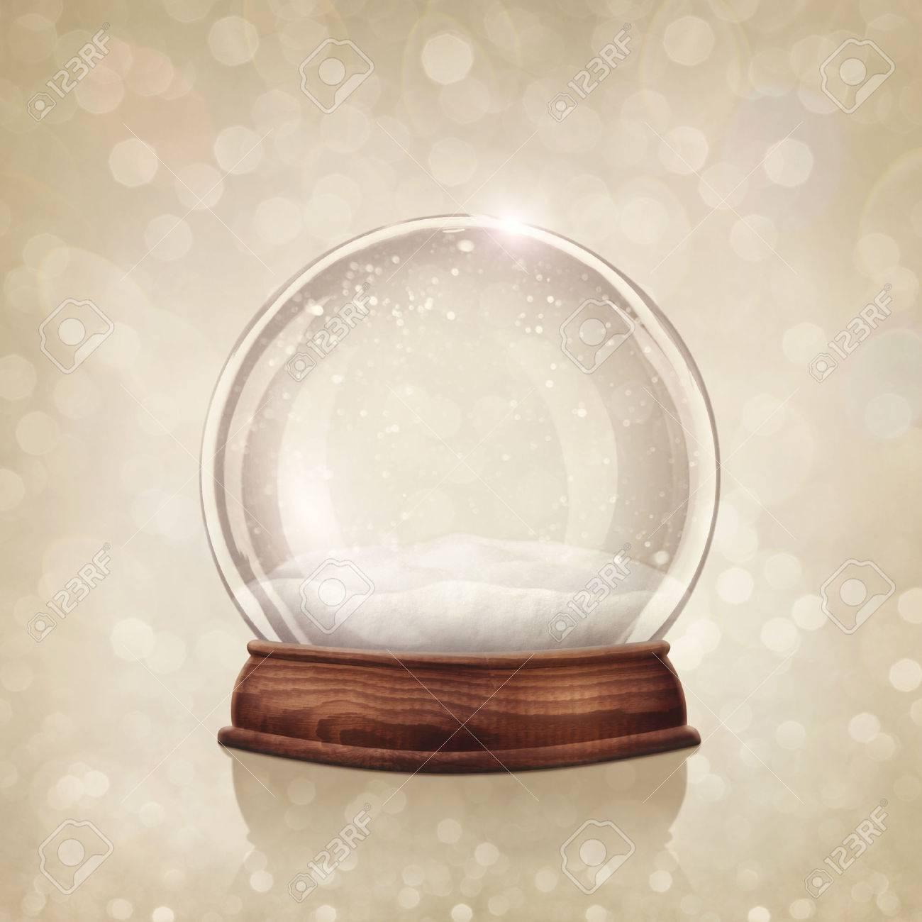 Snow globe on a golden background Stock Photo - 23448385