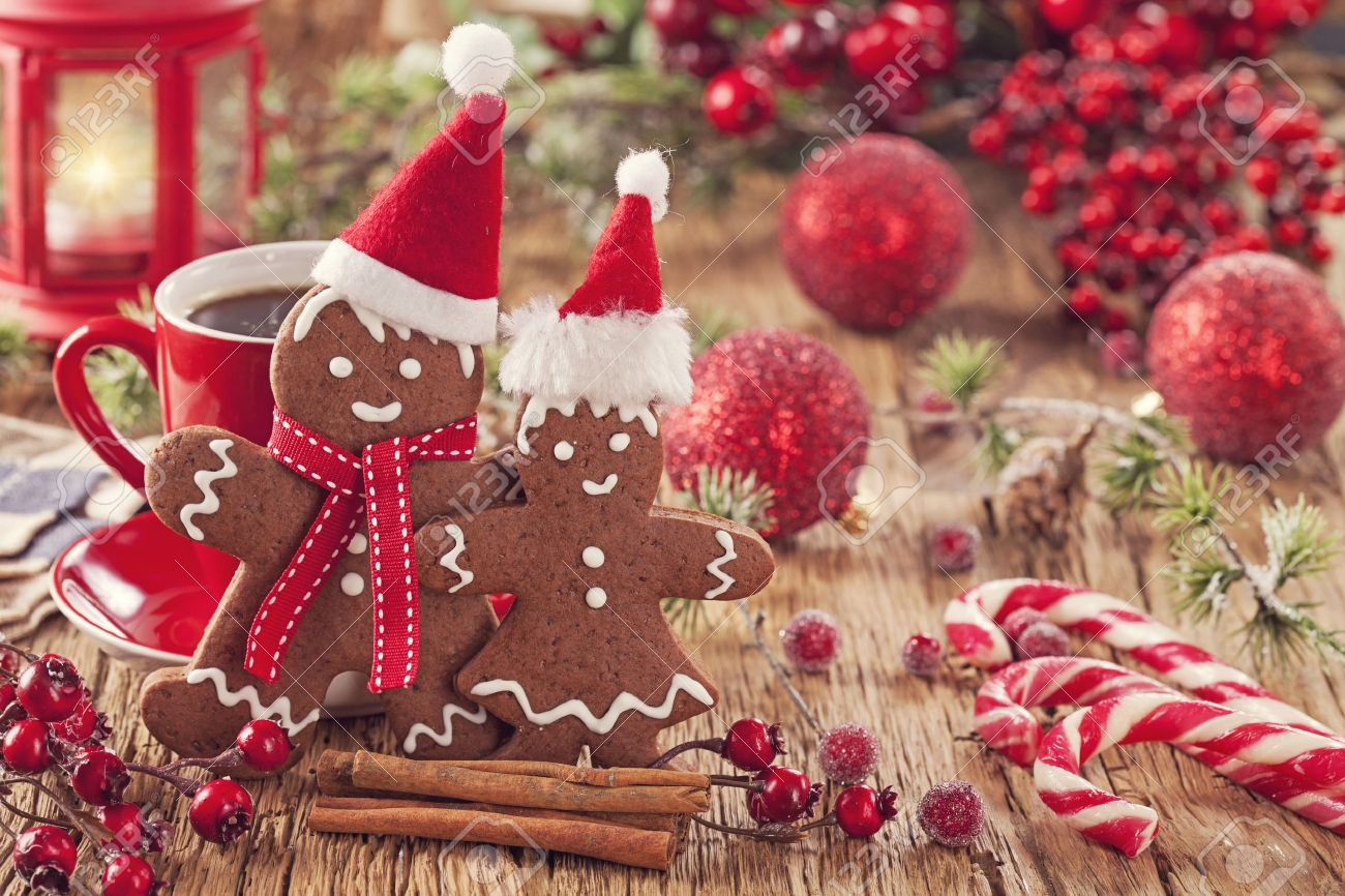 Christmas Gingerbread Man And Hot Drink Stock Photo, Picture And ...