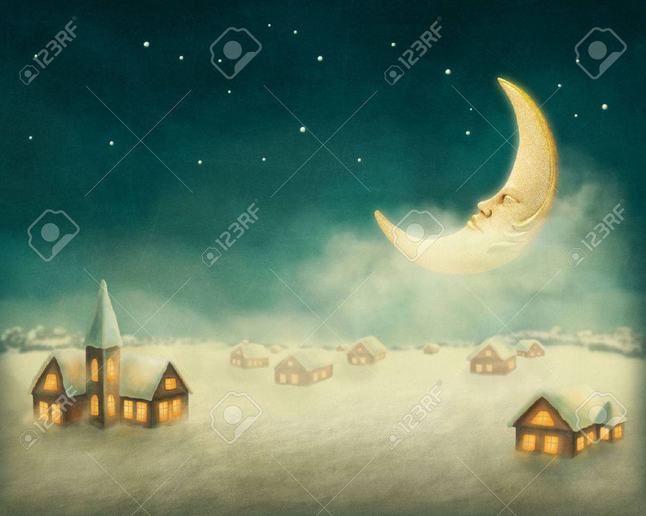 Winter christmas houses in a village Stock Photo - 23997701