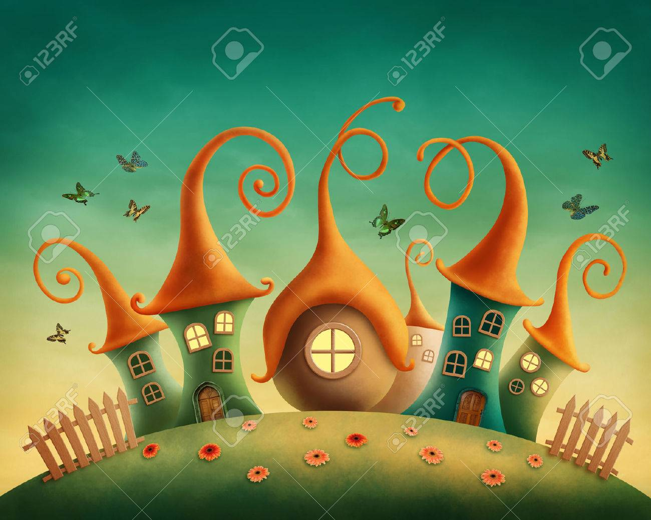 Fantasy houses in the meadow Stock Photo - 28718523