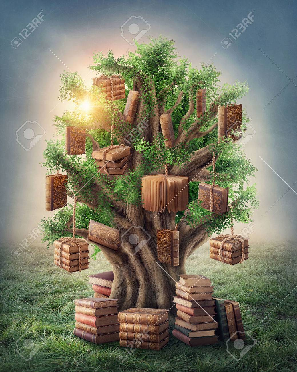 Tree of knowledge in the meadow Stock Photo - 32756198