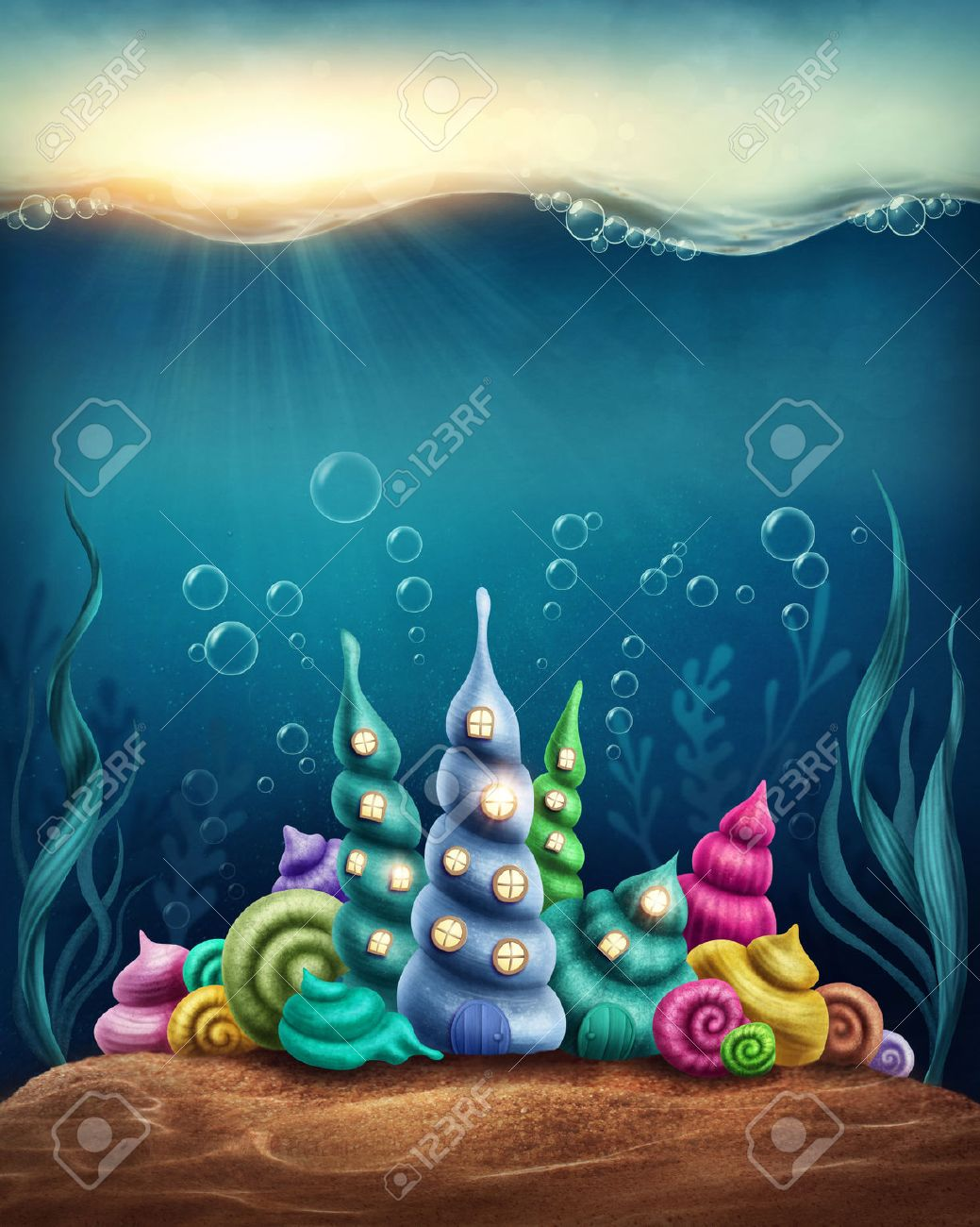 Underwater fantasy kingdom with shell houses Stock Photo - 40898258