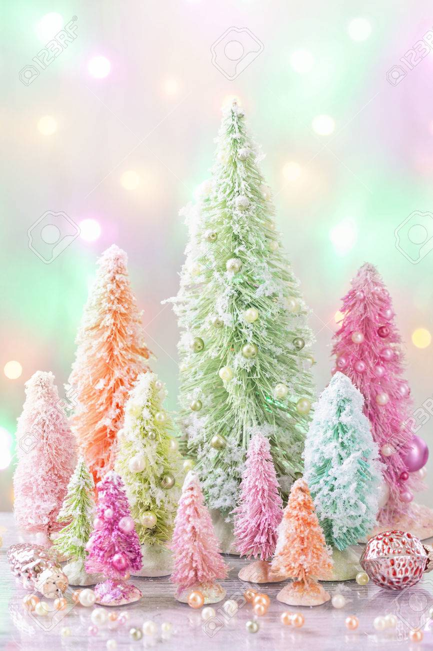 Pastel Colored Christmas Trees And Decoration Stock Photo, Picture ...