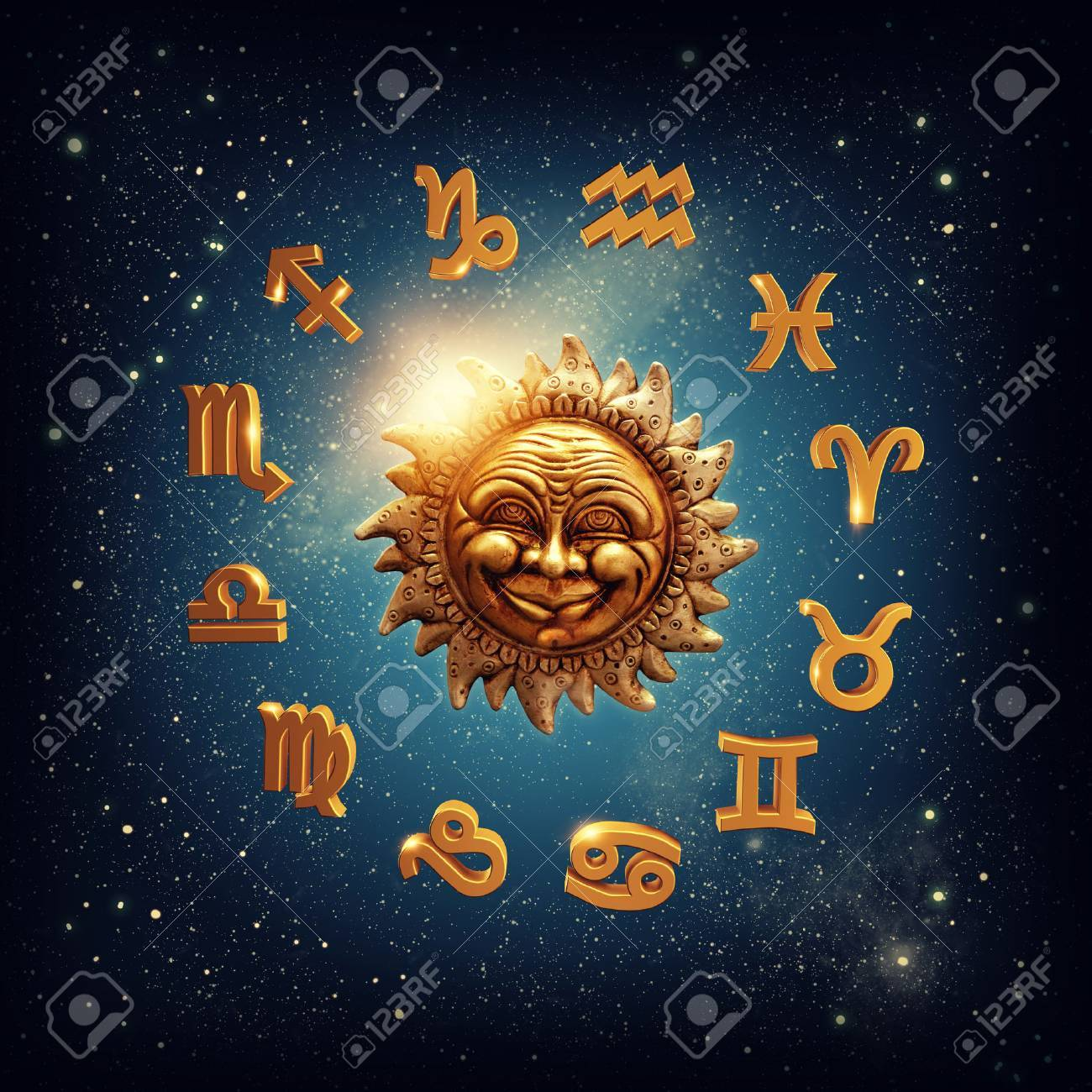 The sun surrounded by zodiac signs - 51982445