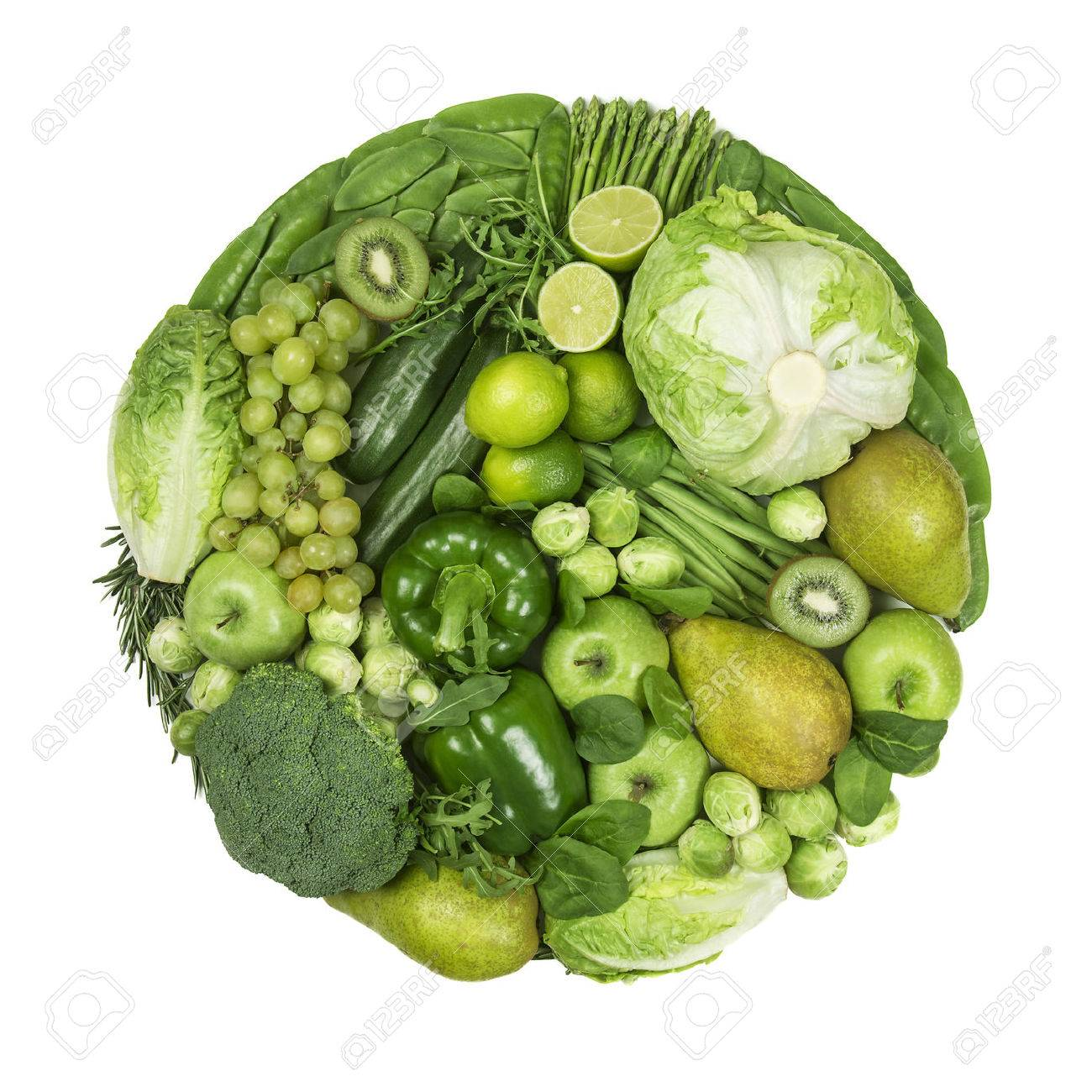 Circle of green fruits and vegetables isolated on a white background - 54145214