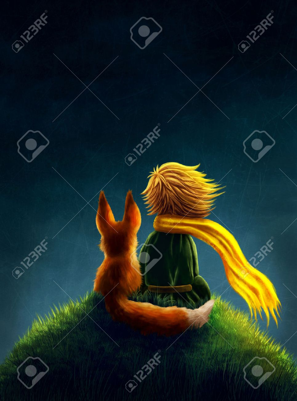 Little prince and the fox Stock Photo - 55797555