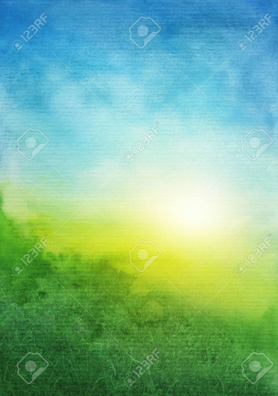 Abstract green blue watercolor background - 69848448
