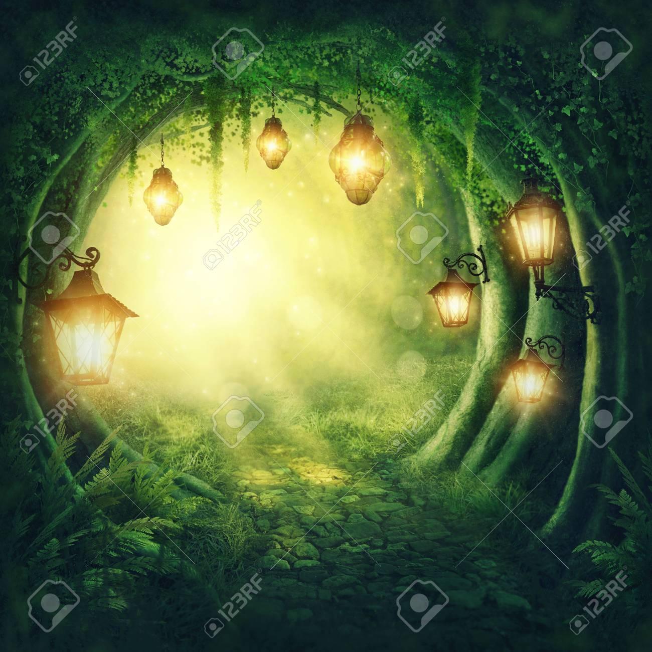 Road in a magic dark forest - 70758408