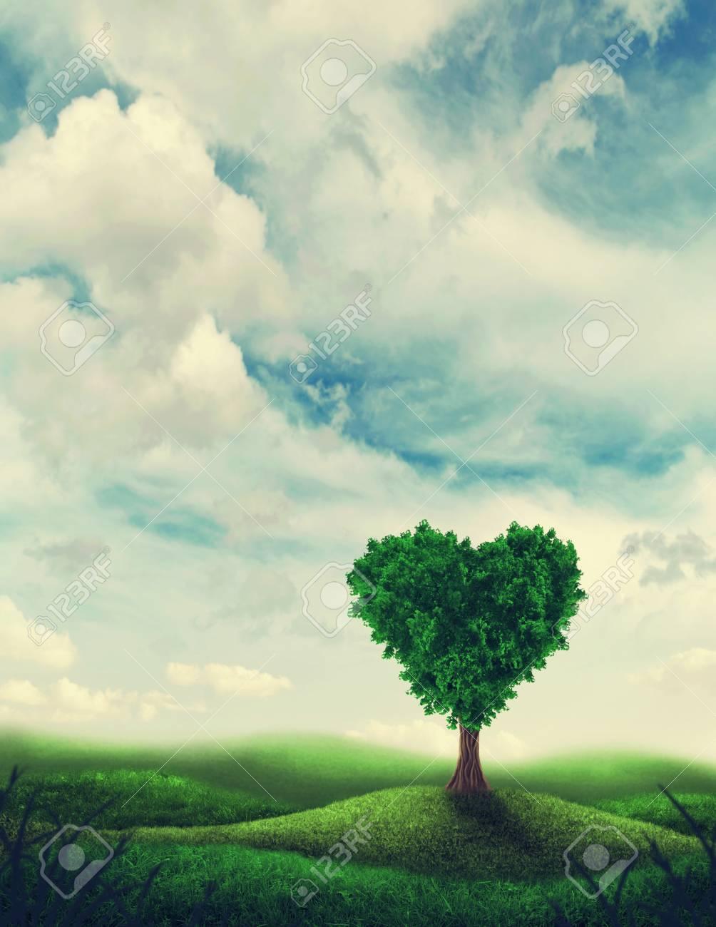 Paisaje Con árbol De Forma De Corazón Fotos Retratos Imágenes Y