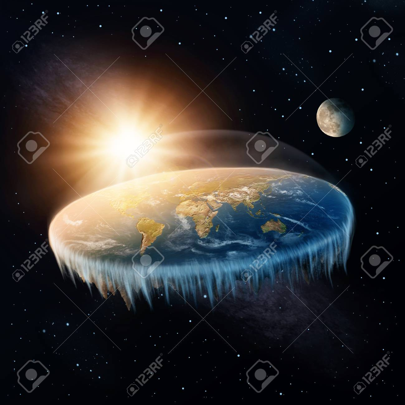 Flat Earth in space with sun and moon - 88638411