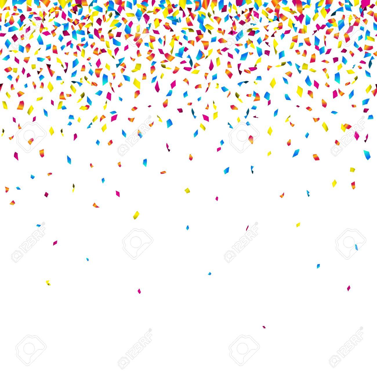 Colorful falling confetti on white background  Seamless celebration