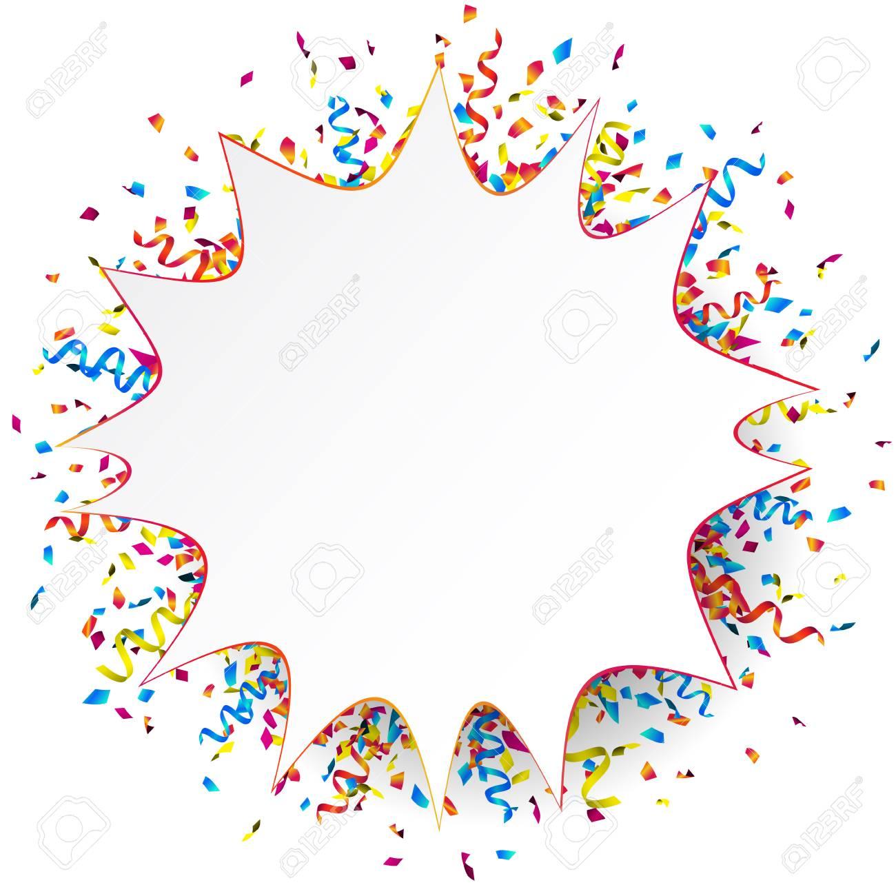 white funny paper banner with colorful ribbons and confetti rh 123rf com confetti vector free download confetti vectoriel gratuit