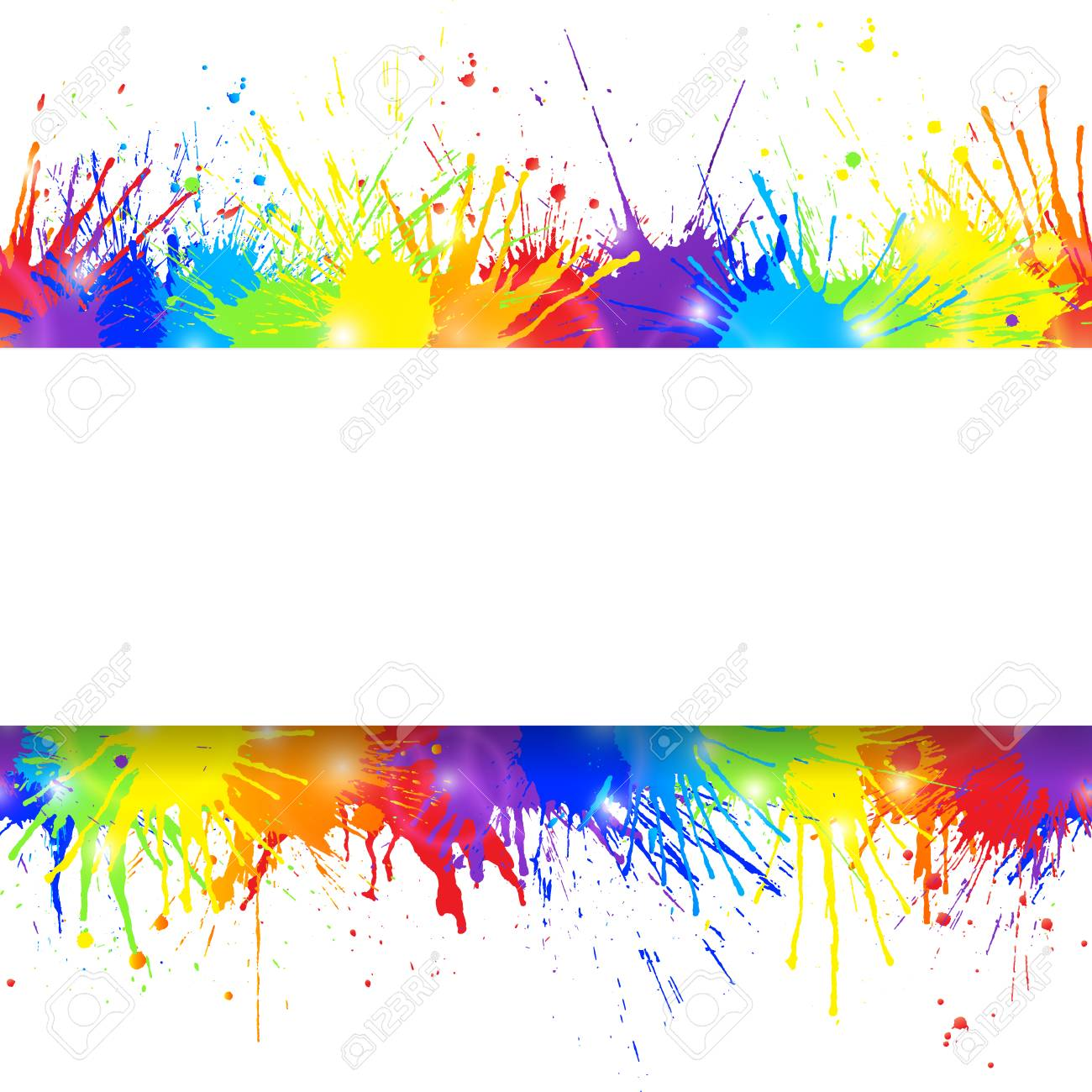 white banner on seamless colorful paint splashes background