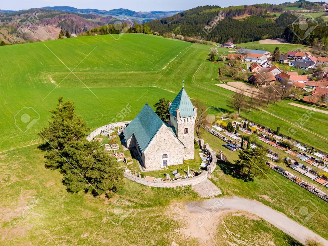 Aerial view of St Michael chapel in czech republic  Chapel is