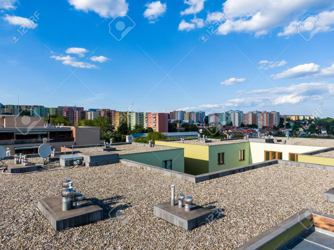 Aerial View Of House Flat Roof On Residental Building Modern