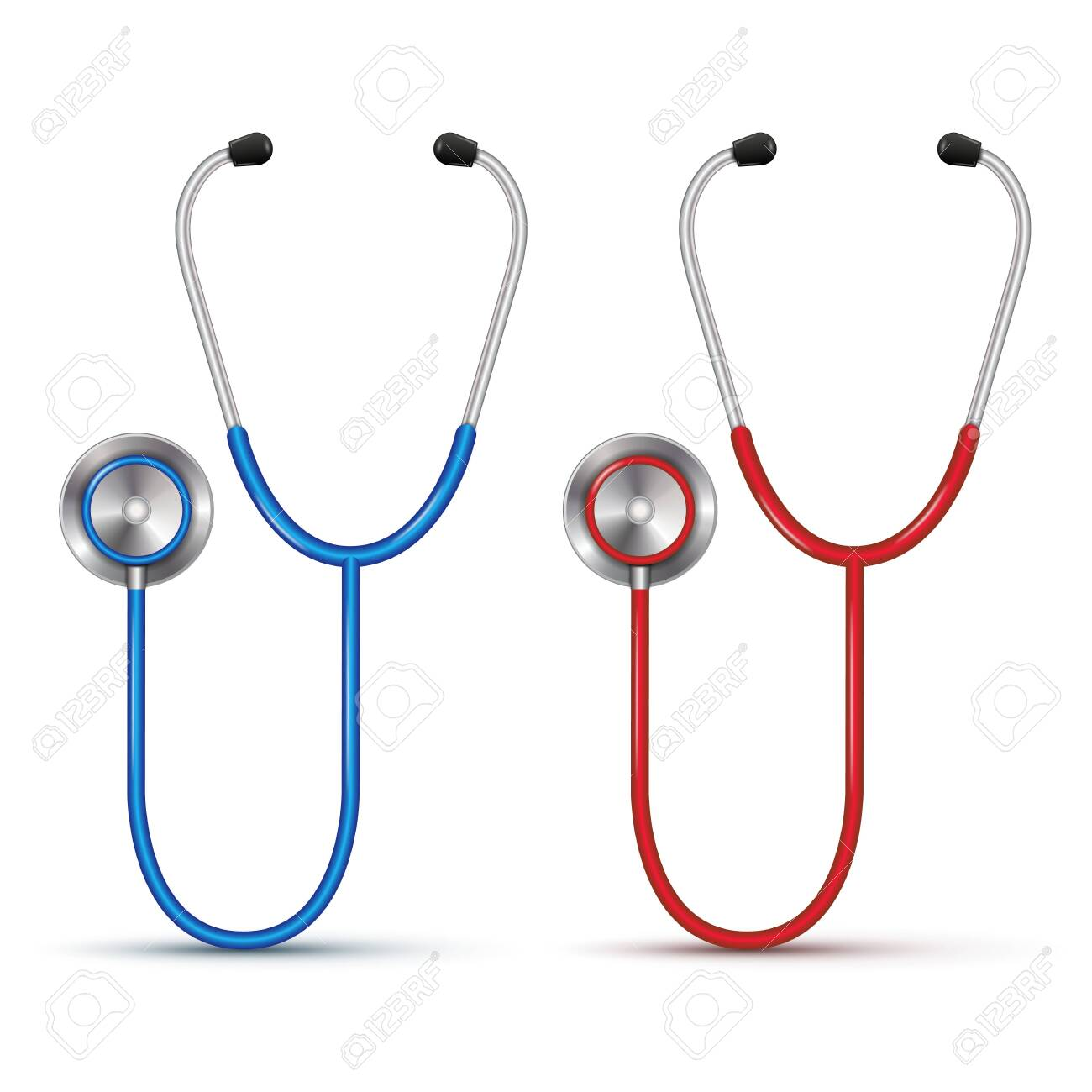 Realistic red and blue 3d stethoscope isolated on white background. Vector illustration - 145295740