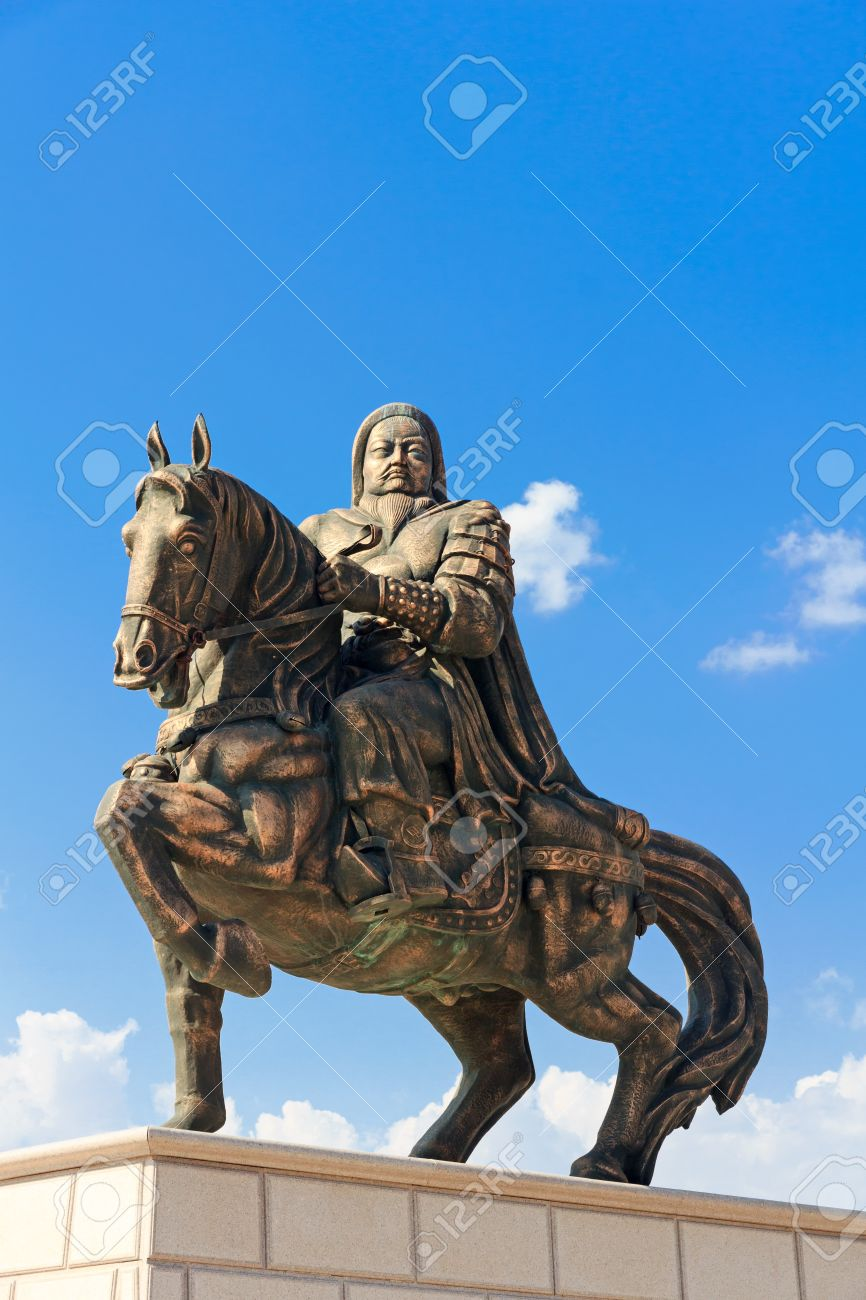 statue of genghis khan at the mausoleum ordos inner mongolia