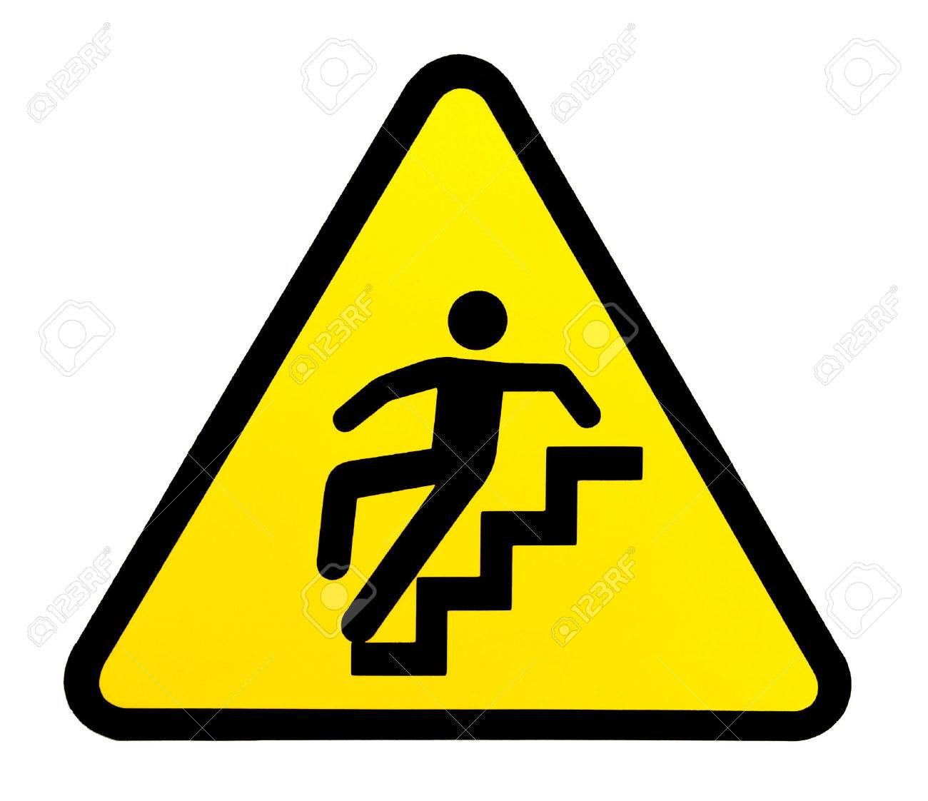 Stock Photo   Yellow Triangular Sign Warning For Slippery Stairs When Wet