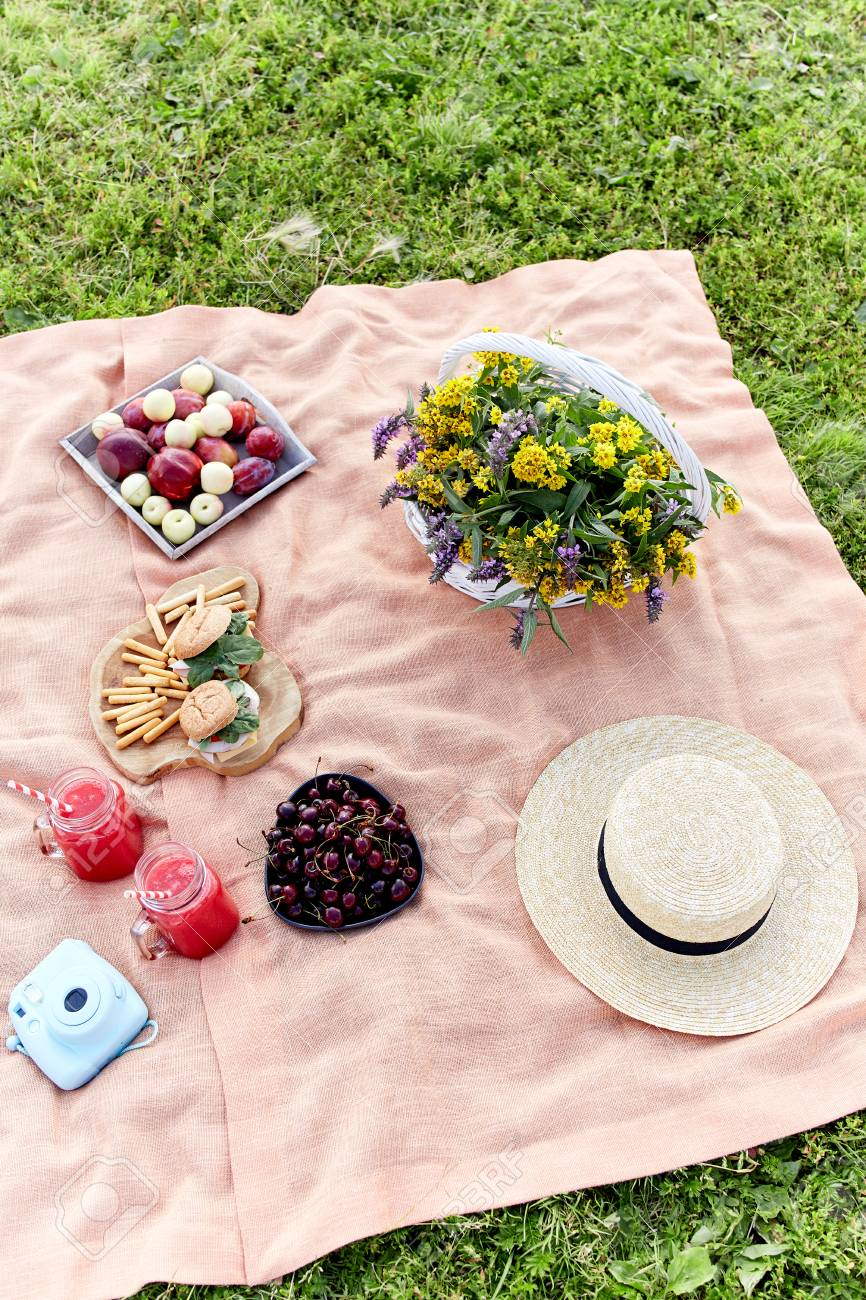 Picnic At The Park On The Grass Tablecloth Basket Healthy Stock Photo Picture And Royalty Free Image Image 82622383