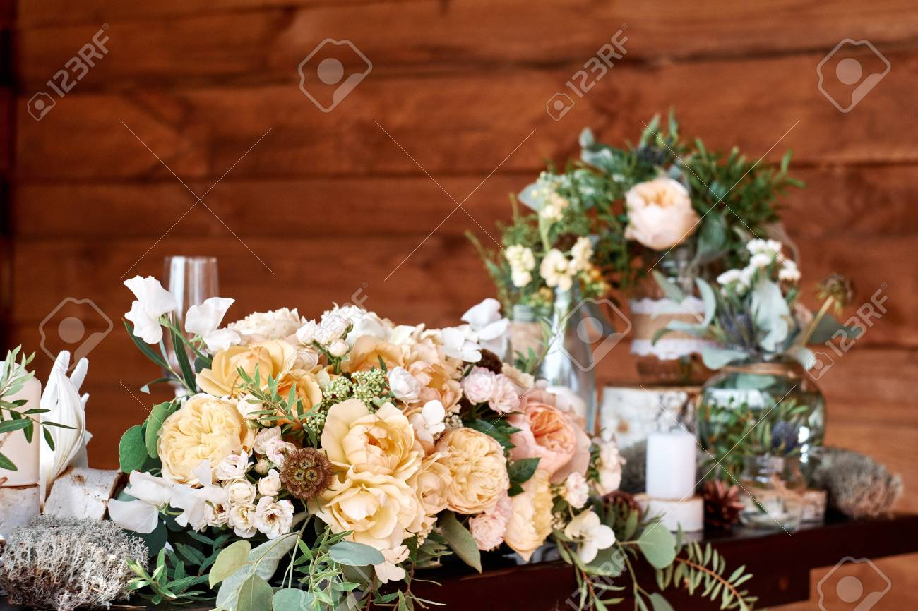 Table Decor With White Flowers And Candles For A Wedding Party Stock