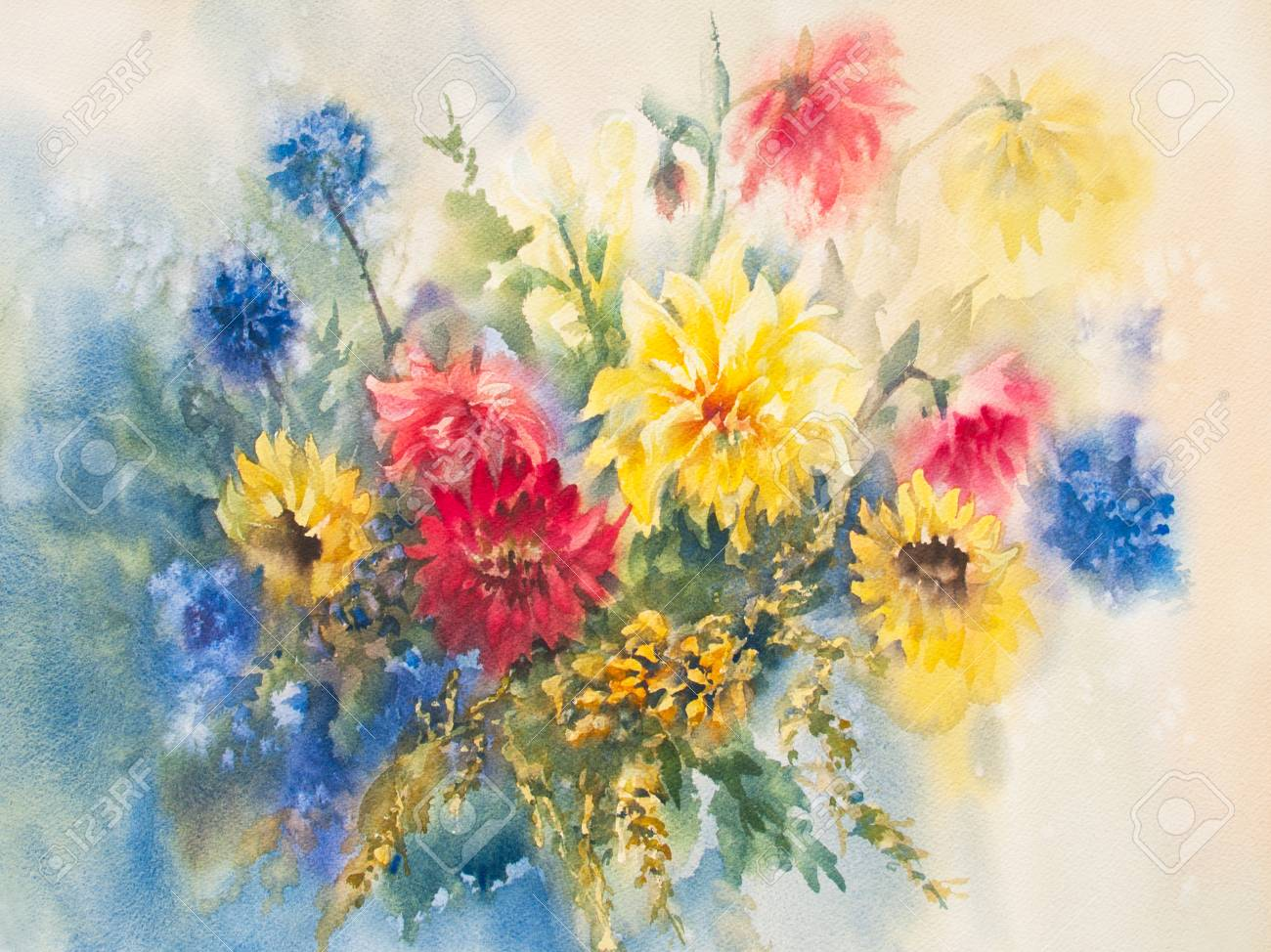 Yellow and red dahlias with blue flowers bouquet watercolor stock yellow and red dahlias with blue flowers bouquet watercolor painting illustration hand painted izmirmasajfo Image collections