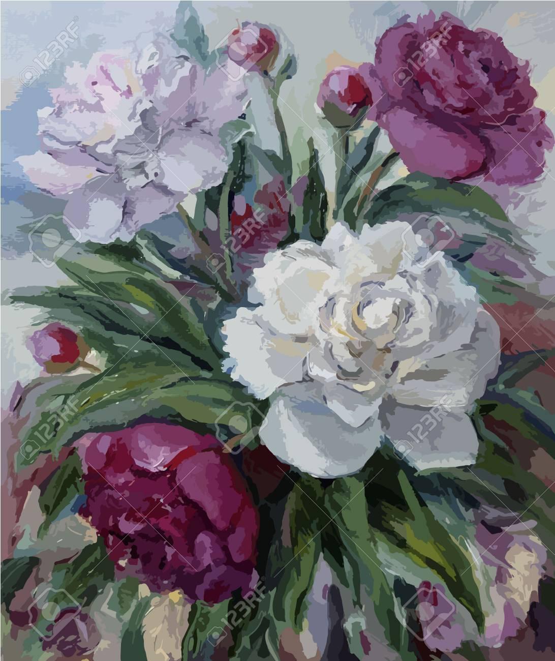Bouquet De Pivoines Peinture à L'huile Sur